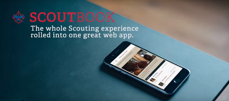 Scoutbook advertisement with image of a cellphone