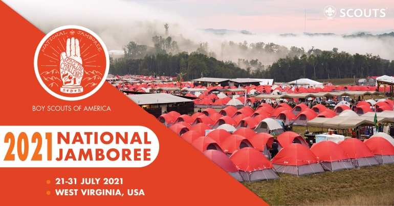 National Jamboree flyer with image of a sea of red tents