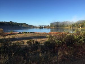 View looking out across Scout Lake at Wente Scout Reservation from Sunrise Ridge