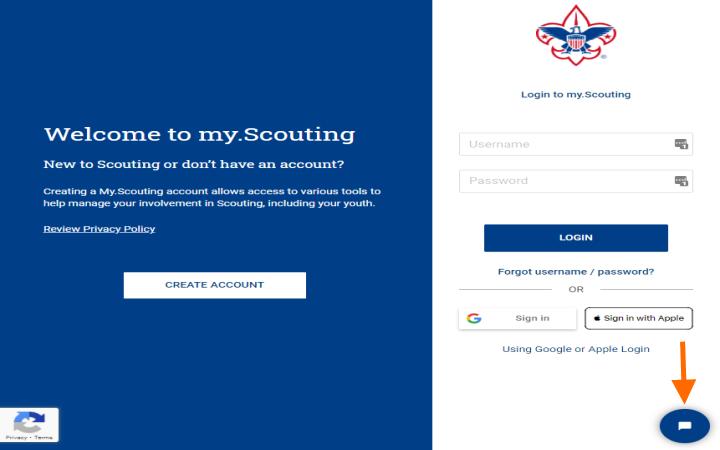 My.Scouting.org login screen