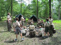 Uniformed ScoutsBSA troop at camp