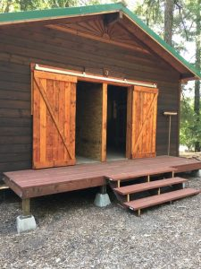 Cabin with new center divide and doors at Camp Royaneh
