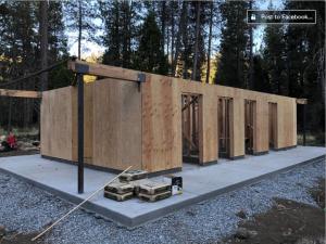 Construction image of new Camp Wolfeboro showerhouse