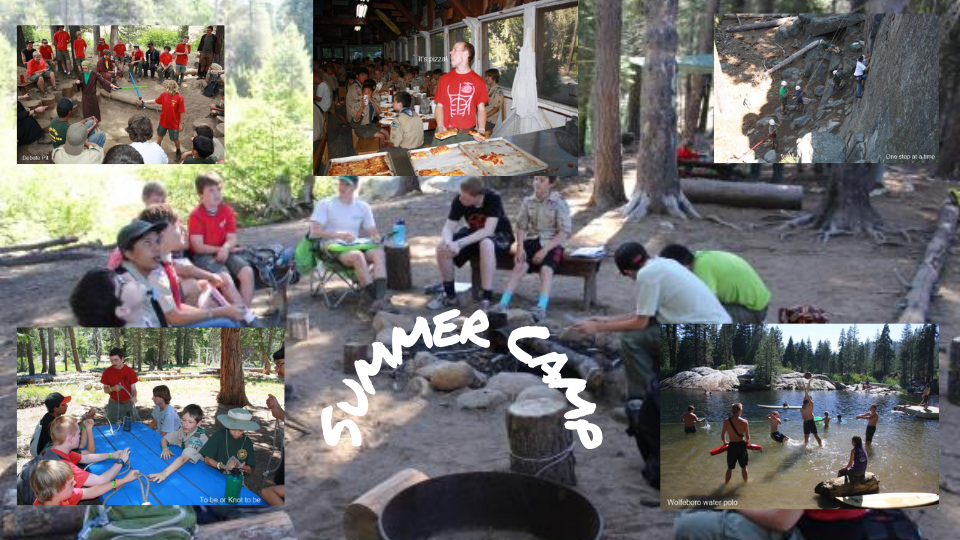 Summer Camp collage showing various scenes from camp: knot tying, water polo, rock climbing and dining hall
