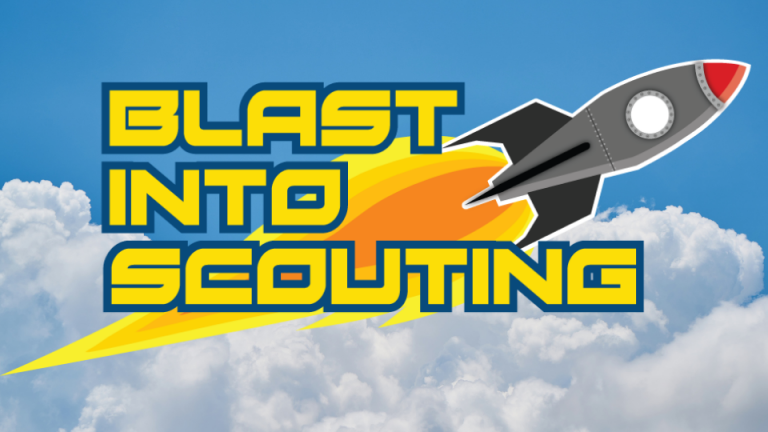 Image of a rocket taking off against a sky/cloud backdrop and the caption Blast into Scouting.
