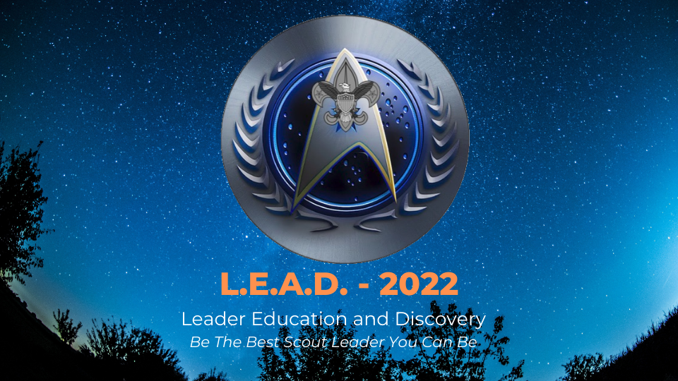 Promotional graphic for L,E,A,D showing logo over a night sky