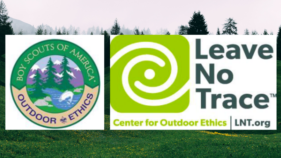 Graphic showing a BSA patch for Outdoor Ethics and a logo for Leave No Trace from the Center for Outdoor Ethics.