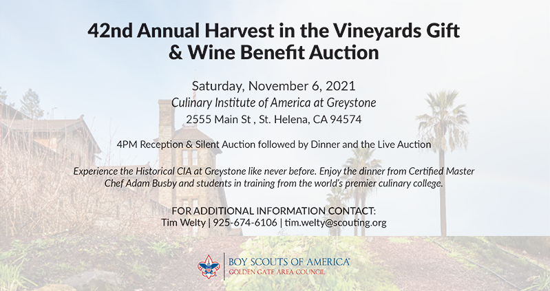 Harvest in the Vineyards event. Building and Palm Trees in the background. Informational text in the foreground.